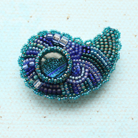 blue paisley brooch by a1as