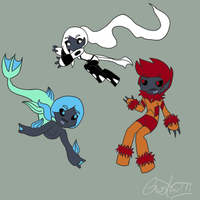The 3 species of Rix by GhostGirlVII