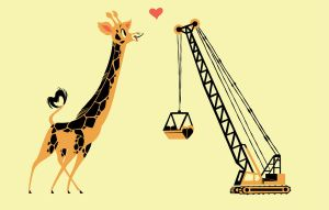 Giraffe Loves Crane Shirt by Pocketowl