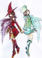 Twin Mage -watercolor- by RougeEtNoir