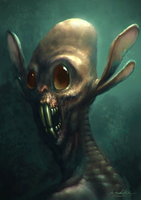 Alien Visitor Space Hare by MitchGrave