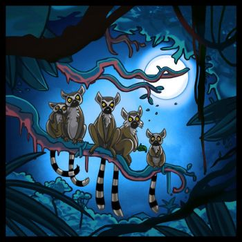 lemurs in the night by laura-csajagi