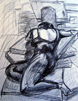 Figure - Reclined Female Graphite - 2009 by Verj