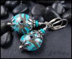 Tribal Turquoise Lampwork Earrings by andromeda