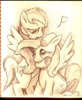 Rainbow Dash noms Fluttershy Sketch by DocWario
