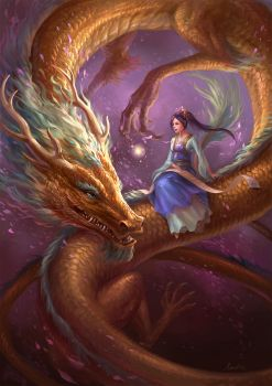 Girl And Dragon by sandara