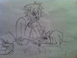 2D and dog by 2-Dcrazy