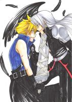 Comissioned Cloud+Sephiroth by BladeSummers