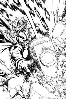 THOR: WHERE WALK THE FROST GIANTS #1 Cover inks by Spacefriend-KRUNK