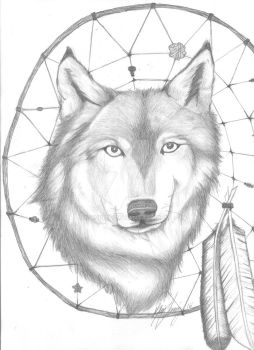 Dreamcatcher Wolf by kyphi5