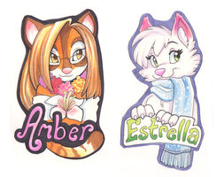 Amber and Estrella Badges by Tigsie