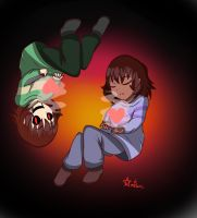 Undertale Frisk and Chara by Ambersuperfun03