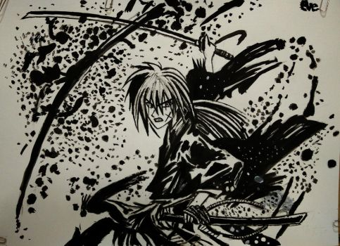 kenshin ink drawing by eve1789