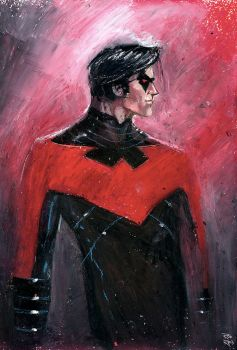 Nightwing Oil Pastel by RodReis