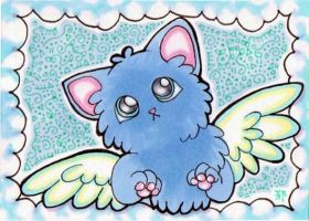 ACEO:Winged Fluffy Cat by lutamesta