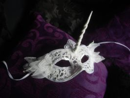 FOR SALE! Unicorn mask with lace by queenofeagles