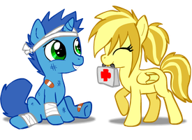 Rin and Ash as smaller ponies. by VengefulSpirits