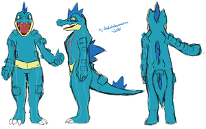 Feraligatr (Cosplay) sketch (+ making of Video) by shadowhatesomochao
