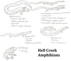 Hell Creek Amphibian sketch dump by Tomozaurus