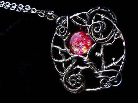 Custom - Red Moon Silver Wrapped Tree of Life by LadyPirotessa