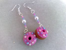 pink donuts silver earrings by PinkCakes