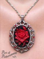 Gothic Rose Cameo Pendant Necklace by ArtOfAdornment