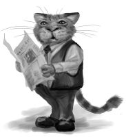 cat reading newspaper. by chrisscalf