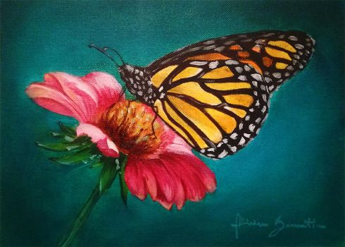Butterfly on a flower - Oil Painting by Niruh