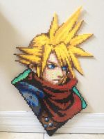 Cloud Strife KH perler by Birdseednerd