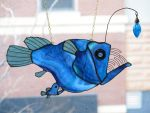 Stained Glass Female Anglerfish with parasitic Mal by trilobiteglassworks