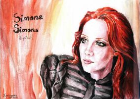 Simone Simons (watercolor) by TigaLioness
