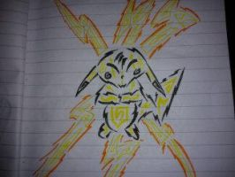 Tribal Pikachu thundershock by AwyrSente
