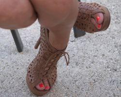 Nicole's Sexy Toes in Brown Shoes 1 by Feetatjoes