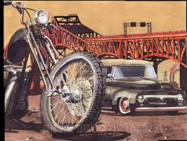1956 Harley Davidson Ford Panel Truck Painting by FastLaneIllustration