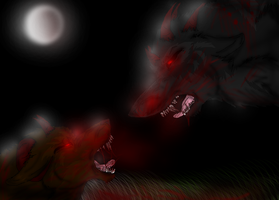 Demon wolves fight by EmoBlackwolfgirl