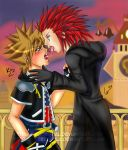 Axel and Sora in Twilight Town by freezekula