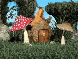 Pre-Made Background Fairy House in Summer by Elle-Arden