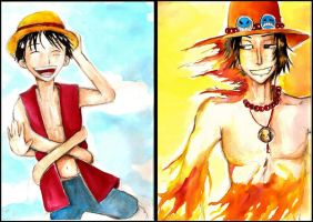 Luffy and Ace by faQy