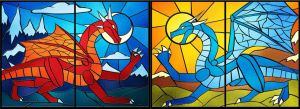 Stained glass dragons by Ciarra