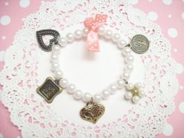 Pink Pearl Charm Bracelet by lessthan3chrissy