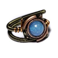 Steampunk Ring blue fire by CatherinetteRings