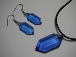 Rupee Earring and Pendant Set (blue) by ChinookCrafts