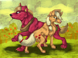 AppleJack and Big Mac. Canine by Suzamuri