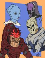 Mass Effect alien team by AntManTheMagnif