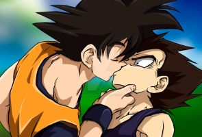 Goku and Vegeta The Kiss by TRACeXvALINTYNE