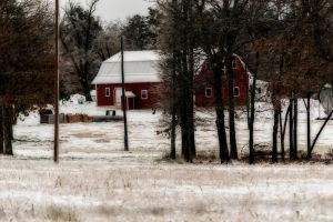 Red Barn and Winter Snow by tracykenefick