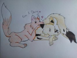 Sketch: Erin and Dewy feral by Writerinhiding