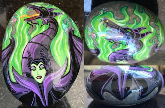 Painted Rock - Maleficent by starfiregal92