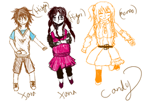 Xara, Xana, and Candy Kagepro Costumes -Sketch- by IvyDevi