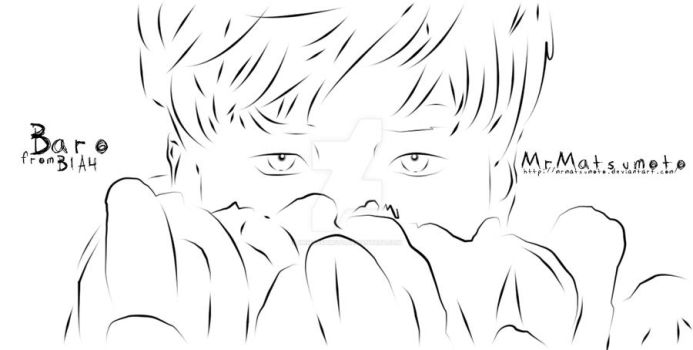 {Lineart} Baro from B1A4 by MrMatsumoto